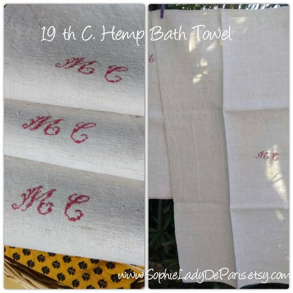 Antique 19th C. Hemp Bath Towel Thick White Hemp Red Hand Embroidered Monogram Rustic Woven #sophieladydeparis