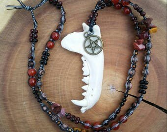 SALE Badger Totem Macrame Necklace: Wiccan Pentacle Charm Glass Agate Crystal Wooden Beads Nylon Cord Jaw Bone Red Yellow Gold Black