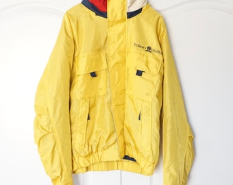 Vintage 90s Tommy Hilfiger Yellow colorblock Jacket Windbreaker XL Extra Large