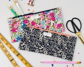 Handmade Pencil Case - Perfect for school, the office or using as your make up bag - available in 2 floral print fabrics