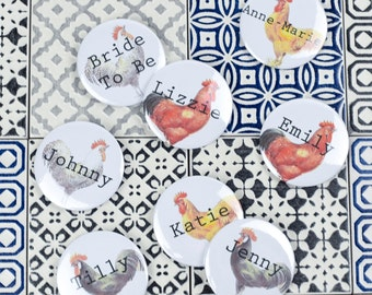 Vintage Inspired Hen Party Badges - White - Quirky, Individual & Handmade - Can be Personalised - Classy Alternative Bacherlorette