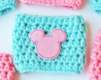 Pink Magical Mouse Coffee Cozy ~ Crochet Coffee Cozy ~ Coffee Cozie ~ Reuseable Cup Sleeve