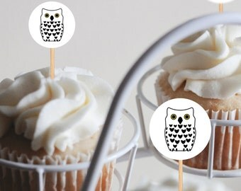 White Owl Jumbo Confetti, Owl Cupcake Toppers, White Owl Party Decorations, Owl Water Bottle Label