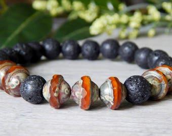 Beaded Bracelet Men, Men's Lava Rock, Mens Boho Bracelet, Mens Beaded Bracelet, Mens Orange and Black Bracelet, Men's Jewelry, Gift for Him
