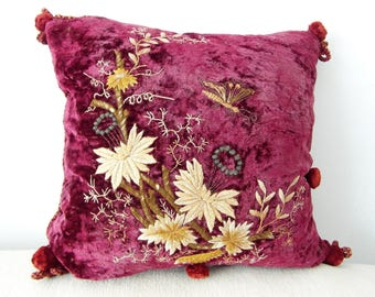 Antique Cushion French embroidery Butterfly & Flowers velvet pillow handmade Unique / fine embroidered Decoration