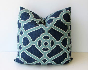 Designer Pillow Cover- Shades of Blue and White Trellis Geometric Design - Decorator Fabric - Toss Pillow - 20x20 - Blue and White