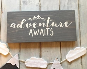 Wood Sign, Adventure Awaits Sign, Wanderlust Sign, Travel Sign, Adventure Sign, Exporer Sign, Housewarming Gift