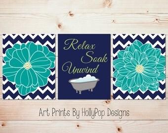 relax soak unwind bathtub print dahlia wall art blue bathroom art navy turquoise modern bathroom art