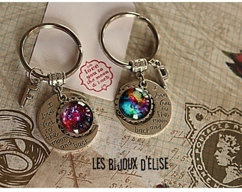 1 I Love You To the Moon & Back Keychain Personalized Keychain Long Distance Relationship Keychain