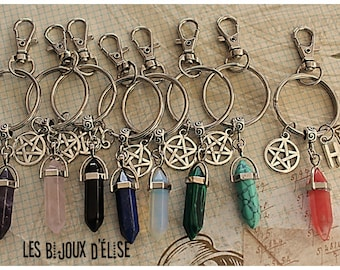 Sale - 1 Healing Quartz Crystal Point Pendant Keychain Personalized Pointed Crystal Keychain Bag Dangle Crystal Amulet Keychain