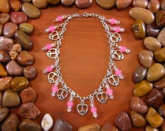 Pink Jade Love Peace Anklet - Love Anklet, Heart Anklet, Peace Anklet, Boho Anklet, Hippie Anklet, Hippy Anklet, Love, Peace, Beaded Anklet