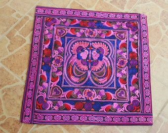 Get Mix 2pcs of  40x40 cms Hmong hill tribe Embroidered Cushion cover, boho, bohemian,Thai cushion excl. pillow