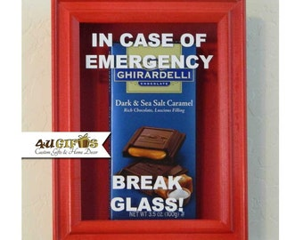 In Case of Emergency Break Glass, Mini Red Shadow Box, Chocolate Lovers Gift, Funny Gift, Gag Gift, Co-Worker Gift