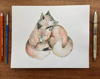 8x10 Original Winter Cuddling Fox-Detailed Watercolor and Ink Art by WoodlandMeadows