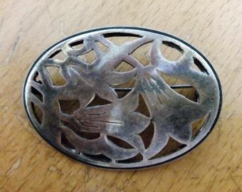 Brooch pin  sterling silver, handmade in Israel  1950