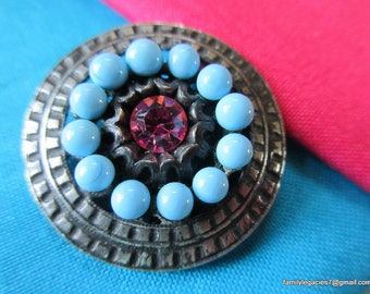 0186 – Very Pretty Metal Vintage Button Embellished with Aqua and Faceted Pink Jewels