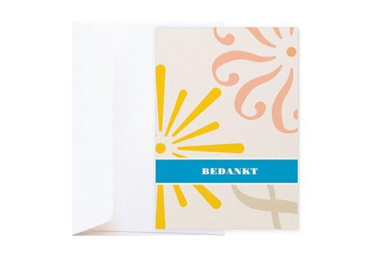 SOLDEN // -50% // Bedankt Dubbele Wenskaart // Grafische kaart op parelmoer metallic glanzend papier