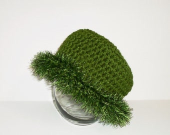 Hand Made Green Crochet Women's Bowler Trimmed with Eyelash Yarn