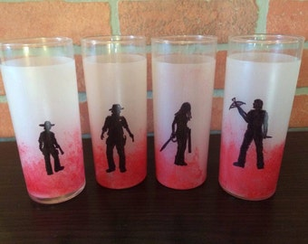 The Walking Dead RISE UP fan art tumbler set of four Rick Carl Michonne and Daryl