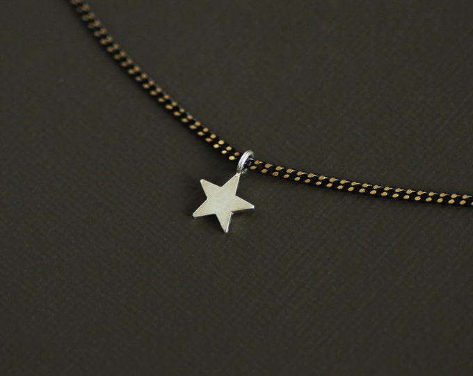 Silver Star Choker Style Necklace on Brass Chain