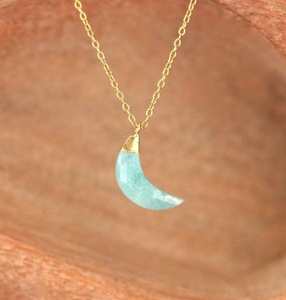 Amazonite necklace - moon necklace - crystal moon necklace - moon jewelry