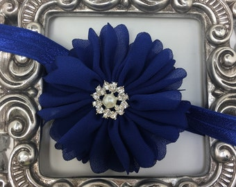 Royal blue headband, soft blue headband with pearls/ rhinestones, girls headband, soft headband, blue hair accessory, blue flower headband