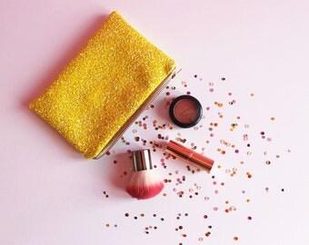 Lemon Yellow Glitter Makeup Bag, Sparkly Yellow Cosmetic Bag, Sparkly Glitter Bag, Yellow Zipped Pouch, Lemon Yellow Pouch,