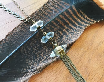 Three Tier Double Terminated Quartz Necklace on Long Brass Chain -Long Chevron Necklace with Fringe -Boho Chic Brads and Crystal Necklace