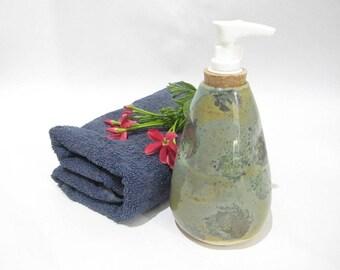 Soap Dispenser, Liquid Soap Pump, Lotion Pump,  Bathroom Accessories,  Handmade Teal Ceramics