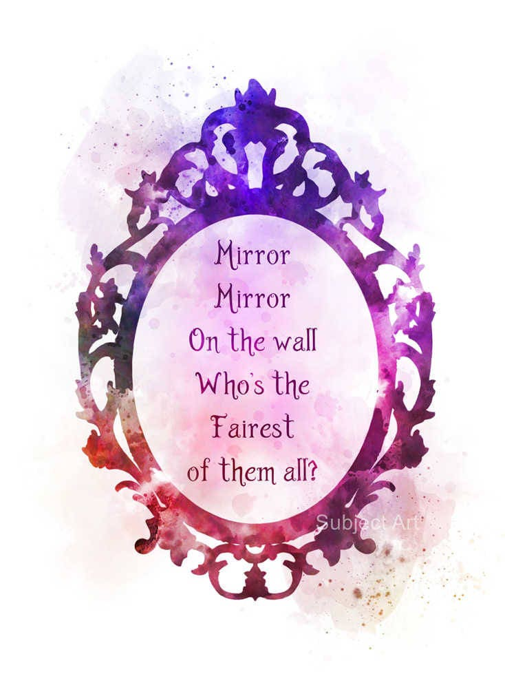 Snow white quote art print illustration mirror mirror on the for Miroir miroir blanche neige
