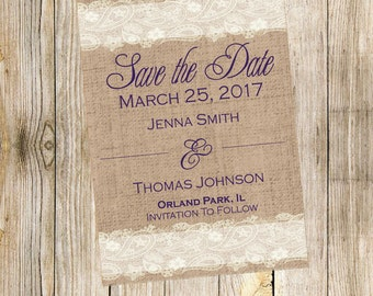 Burlap and Lace - Save the Date Card - Wedding Date - Purple Save the Date - Shabby Chic - Burlap - Canvas - Date - Wedding