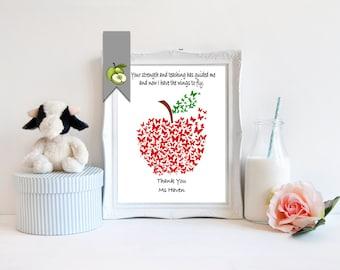 Teacher Appreciation gift, Personalised, butterfly, apple art, digital, printable, thank you teacher, Apple, retirement, butterfly art