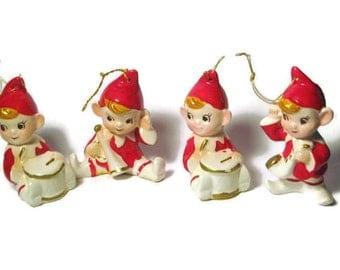 Vintage Christmas Santa Pixie Elf Band Choir Porcelain Figurine Inarco Tree Ornament Decoration Japan HTF Ceramic figure Drum Sax Horn