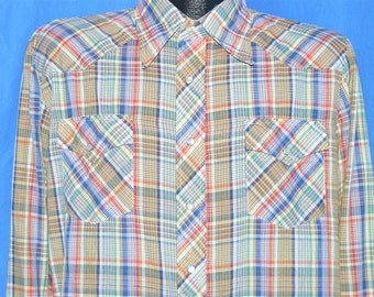 70s Rainbow Plaid Western Pearl Snap Women's Shirt Large