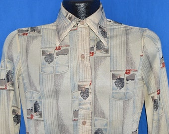 70s Hutspah Window Rotary Phone Print Disco Shirt Extra-Small
