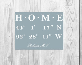 Latitude Longitude HOME printable artwork