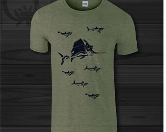 SHARKS T shirt  Men Graphic Print fish Men's t-shirt