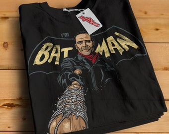 Negan I'm Batman Black T-Shirt -SD1199- The Walking Dead Parody Negan Saviors Barbed wire Baseball Bat Batman Parody