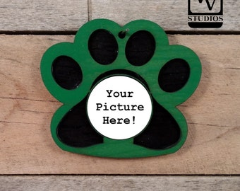 Green Paw Picture Christmas Ornament