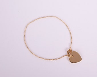 Fine Anklet Silver Heart Ballchain Love Chain Plated Hearts