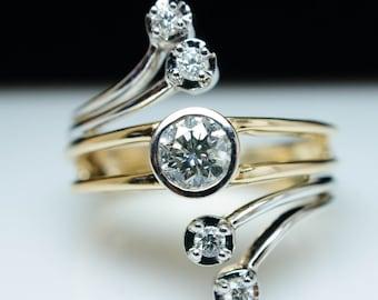 SALE- Vintage .56ct Diamond Wrap Ring in 14k Yellow & White Gold - Size 7