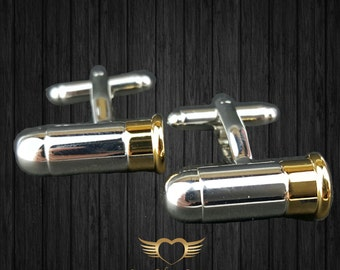 Bullet Cufflinks - Mens Cuff links with a Gift Box - Mens Jewelry - Groosman,Groomsmen, Menswear, Mens gift