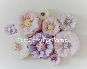 Oversized paper flowers 4 units Ash pink/Ash lilac/Ivory Vintage party centerpiece. Rustic boho wall decor. Breathtaking Blooms.