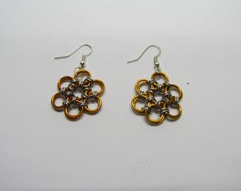 Chainmail Daisy Earrings - Orange