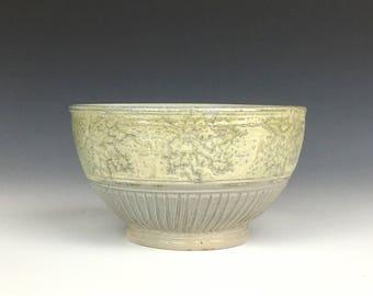 Pale ceramic cereal bowl, ceramic prep bowl, small stoneware bowl, cream pottery bowl, ceramic ice cream bowl, salt fired pottery