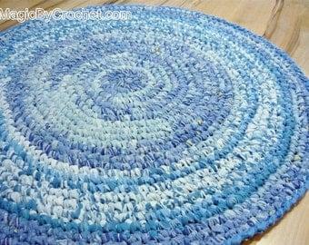 Handmade Rug Blue Rag Rug  Nursery Rug  Kitchen Rug  Round Rug 90 cm