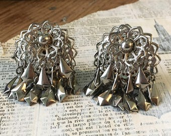 Vintage Large Silver Earrings | Silverplated Metal Dangle Clip Earrings Statement Filigree