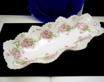 M Z Austria Celery Dish Shallow Bowl Porcelain Pink Roses