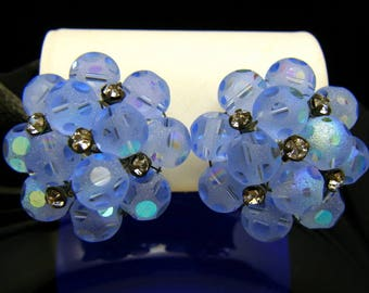 Vintage Vogue Earrings Blue Frosted Dot Beads Rose Montee Rhinestones Clip Ons