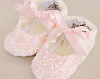 Baby Girl's Christening Slippers, Infant Slippers, Baptism Shoes